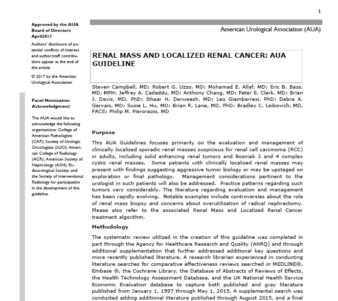 RENAL MASS AND LOCALIZED RENAL CANCER: AUA GUIDELINE